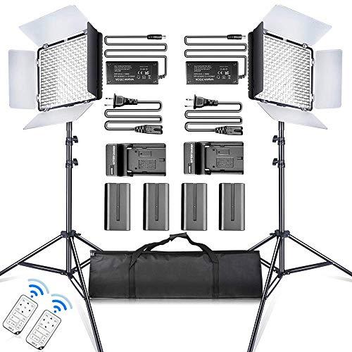 SAMTIAN 2 Stück 600 LED Videolicht/Studioleuchte-Kit : (2) 3200k-5600K CRI 95+ dimmabre Videoleuchte mit Fernbedienung und Zwei Farbfilter,(2) 75''Lichtstand für Studio Fotografie,Streaming