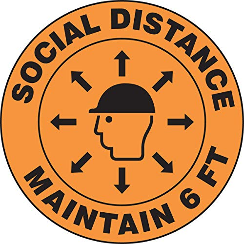 Accuform Hard Hat Decal'Social Distance Maintain 6 FEET', 2.25' Diameter, (LHTL270)