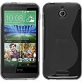 PhoneNatic Hülle kompatibel mit HTC Desire 510 - grau Silikon Hülle S-Style + 2 Schutzfolien