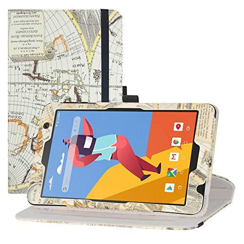 LFDZ Funda MatrixPad S8,Cuero Sintético Rotación de 360 Grados de Función de Soporte para 8' Vankyo MatrixPad S8 / Dragon Touch Notepad Y80 Tablet,Mapa