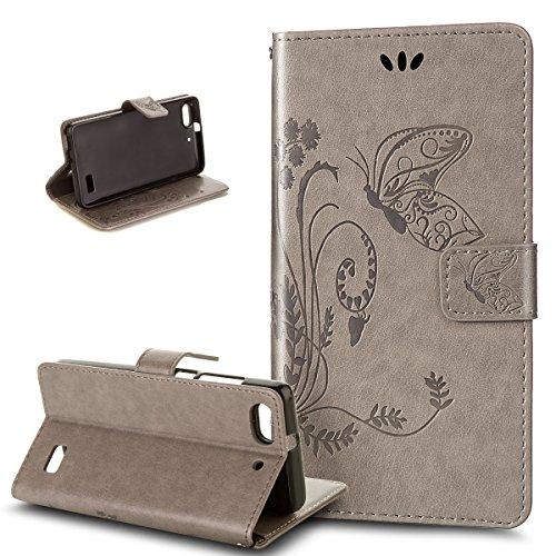 Kompatibel mit Huawei G Play mini Hülle,Huawei Honor 4C Hülle,Prägung Groß Schmetterling Blumen PU Lederhülle Flip Hülle Ständer Wallet Tasche Schutzhülle für für Huawei G Play mini/Honor 4C,Grau