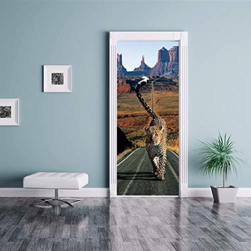QTXINGMU 3D Deur Sticker Cheetah Op De Weg Europese Stijl Muursticker Slaapkamer Woonkamer Jurk Poster Pvc Waterdichte Applique Van