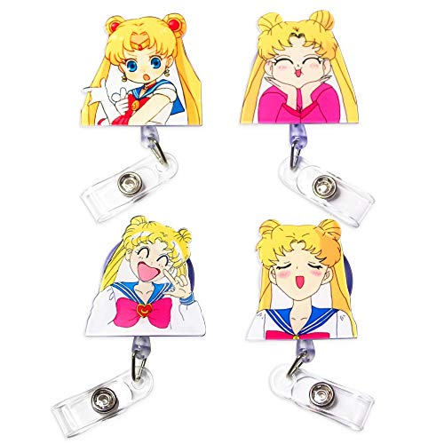 4Pcs Sailor Moon Retractable ID Badge Reel, Japanese Anime Manga Rubber Plastic Holder Badge Reels Clip for Nurse and Student