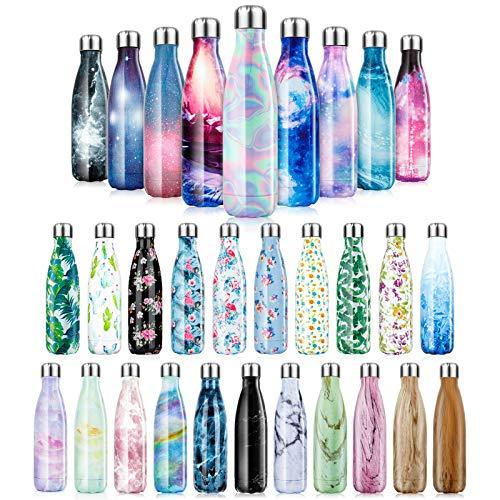 Botella de Agua de acero inoxidable sin BPA-350/500/750/1000 ml Botella Termica aisladas al vacío Botellas de doble pared reutilizable Mantiene bebidas 24h frías y 12h Calientes para Viaje, De