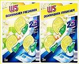 Ambientador para lavavajillas 2 en 1, aroma a limón W5, lucha contra el olor y libera una fragancia fresca, paquete de 2 x 3