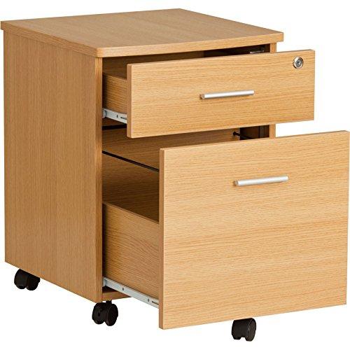 Zwei Schublade abschließbar A4 Hängeregister Ständer Schrank Passende Piranha Eiche Schreibtische und Home Office Möbel – Schleimfisch PC 10
