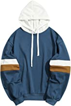 Elogoog Hoodies for Men,Casual Patchwork Outwear Long Sleeve Hooded Sweatshirt Shirt, Slim Fit S M L XL XXL