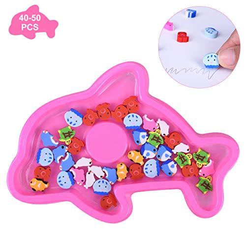 OZUAR Mini Tiere Radiergummi Set Kawaii Bunte Schnelle Reinigung Radierer in Wal-Form Box für Kinder Schulbedarf Schreibwaren Gastgeschenke Geburtstag (40-50 PCS)