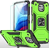 Amytor Designed for Motorola Moto G Power 2021 Case [2 x Tempered Glass Screen Protector][ Military Grade ] 17Ft. Drop Tested Armor Protective Phone Case with Magnetic Car Mount Ring Kickstand (Green)