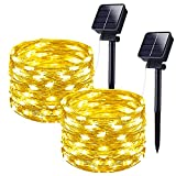 Solar Outdoor String Lights , 120FT 240 LED Fairy Lights, IP44 Waterproof Decoration Solar Fairy Lights, 8 Modes Copper Wire Solar Christmas Lights for Patio Wedding Party Trees Garden Yard (60Ft×2)