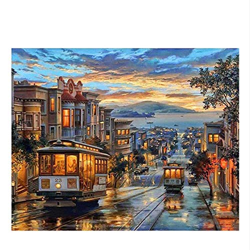 Vanzelu Dusk Town DIY schilderij met nummers Abstract City bus olieverf op canvas Sea Picture Decoration Acryl Home Decor 40x40cm Geen frame.