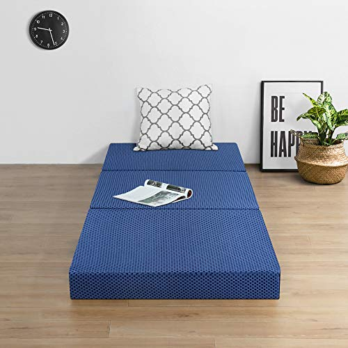 Olee Sleep Tri-Folding Memory Foam Mattress Topper (TWIN, 38' x 78'), Blue, Twin