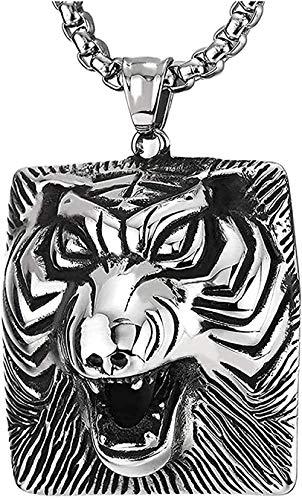 Yiffshunl Necklace Retro Roaring Tiger Head Square Pendant Necklace in Steel for Men