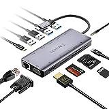 MVPower USB C Hub 13 Ports Docking Station USB C Adapter mit 4K Ultra HD,Gigablit Ethernet RJ45, 100W PD, USB C Data,2 USB2.0, 2 USB3.0, SD/SCXC/MS Kartenleser, 3.5mm Audio, VGA für PC/Tablet/Telefon