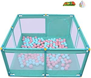 YEHL Playpen Baby 4-Panel Indoor Outdoor Portable Play Yard Safety Activity Center with 200 Balls and Cushion  66cm Tall  Color GREEN  Size 128 128cm