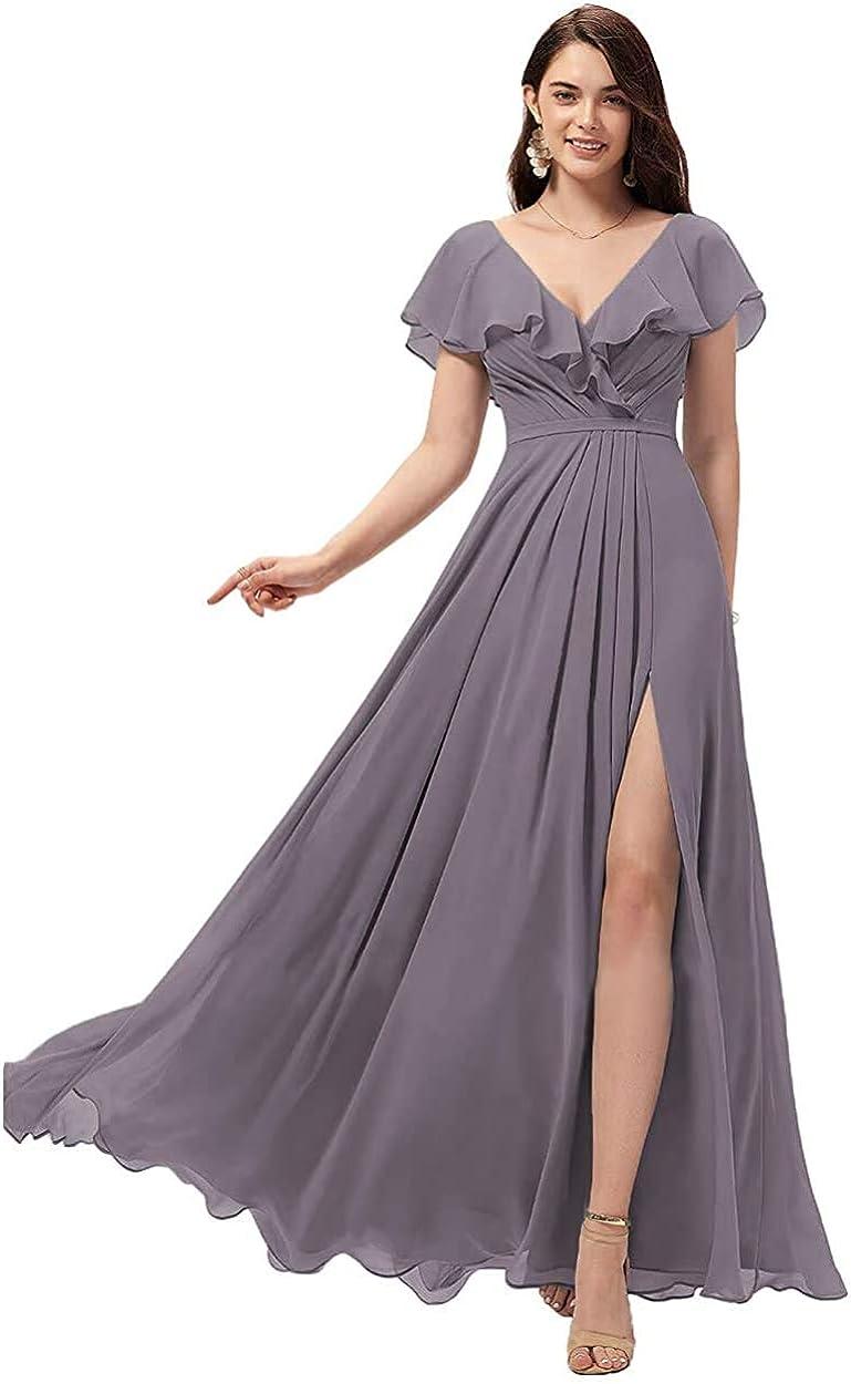Women's Sweetheart V Neck Bridesmaid Dresses Long Slit Ruffle Chiffon Formal Evening Gowns