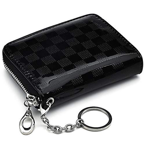 Kreditkartenetui RFID Schutz für Damen und Herren, Mini Geldbörse mit Münzfach, 14 Fächer, Reißverschluss, Schlüsselanhänger