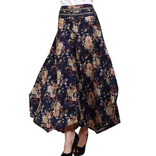 FEOYA Damen Weite Bein Hose Sommer Casual Baumwolle Hosen Elastische Taille Hosenrock Lang Hose