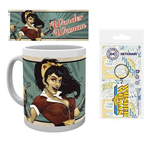 1art1 Wonder Woman, Bombshells, DC Comics Taza Foto (9x8 cm) Y 1 Wonder Woman, Llavero (6x4 cm)