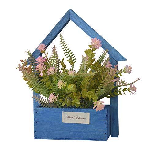 Home & Mas Kunstbloemen voor de tuin met blauwe bloempot van natuurlijk hout, decoratieve rozen, 24 x 6 x 16 cm