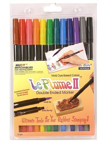 Uchida 1122-12A Le Plume II Double-Ended Markers with Brush and Fine Tips, Primary, Set of 12