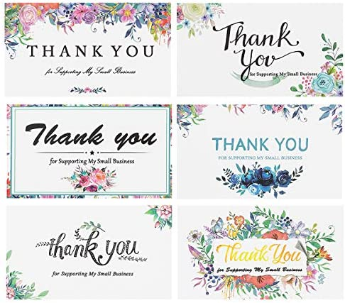 240 Pieces Thank You for Supporting My Small Business Cards Kraft Small Thank You Floral Cards product image