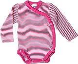 Cosilana Baby Wickelbody aus 70% Wolle und 30% Seide kbT (62-68, Geringelt Pep-pink Natur)