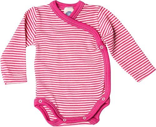 Cosilana Baby Wickelbody aus 70% Wolle und 30% Seide kbT (50-56, Geringelt Pep-pink Natur)