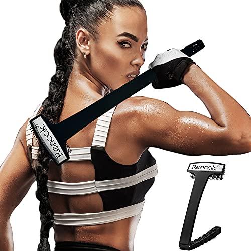 Zurückklappbarer Scratcher, übergroße Borstenkratzkopf-Körperbürste, langer Griff mit Massagerollen, arbeitssparend und flexibel!