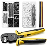 Qibaok Crimping Tool Kit Dupont Ratcheting Crimper Plier Set with 460pcs 2.54mm JST-XH Connectors and 1550PCS 2.54mm Dupont Connectors