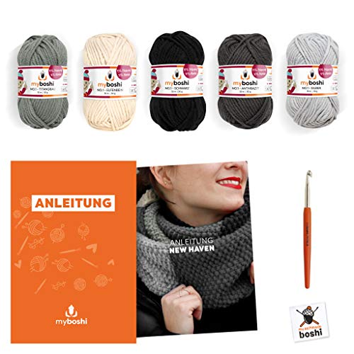myboshi Strick-Set Schal New Haven | aus No.1 | Anleitung + Wolle | mit passender Stricknadel | Strick-Schal-Set | Titangrau Elfenbein Schwarz Anthrazit Silber