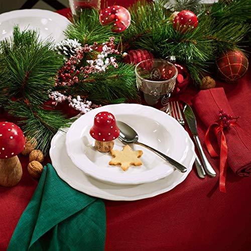BUTLERS Eaton Place Klassisches Teller-Set aus Keramik Ø 23 cm - 6 weiße Suppenteller im romantischen Stil - Geschirr