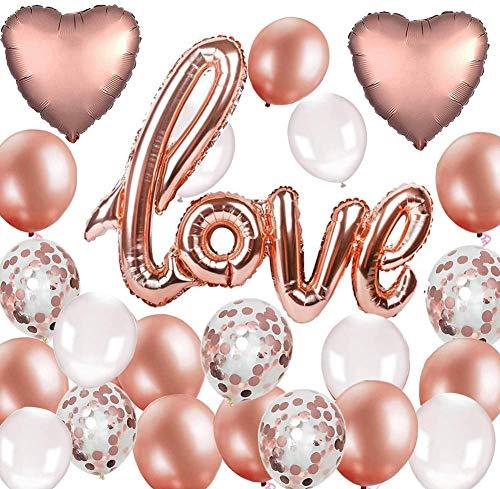 38 Stück Roségold Luftballon Hochzeit XXL LOVE Folienballon Rose Gold Folienballon Herz Konfetti Ballons Set für Geburtstag Heiratsantrag Hochzeit Party Valentinstag Dekoration