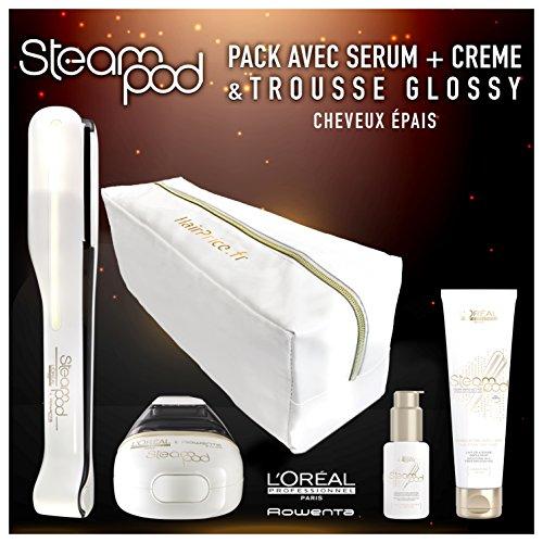 L Oreal - Pack de plancha de vapor para el pelo Steampod 2.0 con sérum, loción alisadora para cabello grueso y neceser de almacenamiento