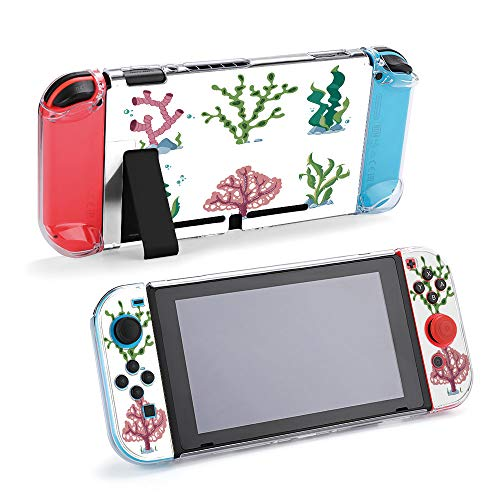 SUPNON Aquatic Nature Kelp Life Illustration Protective Case Compatible with Nintendo Switch Soft Slim Grip Cover Shell for Console & Joy-Con with Screen Protector, Thumb Grips Design20577