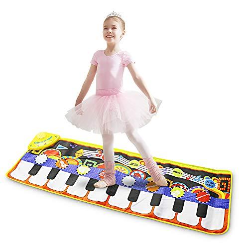 Magicfun Musikalische Klavierspielmatte, 19 Tasten Tastatur Tanzmatte, tragbares elektronisches Lernspielzeug mit 8 Instrumenten, 10 Demos und Aufnahmefunktion für Kind Kleinkinder(110 * 36 cm)