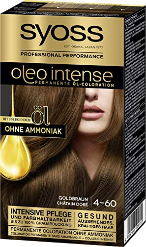 SYOSS Oleo Intense Permanente Öl-Coloration 4-60 Goldbraun, mit pflegendem Öl & ohne Ammoniak, 3er Pack (3 x 115 ml)