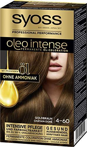 SYOSS Oleo Intense Permanente Öl-Coloration 4-60 Goldbraun, mit pflegendem Öl & ohne Ammoniak, 3er Pack (3 x 115 ml)