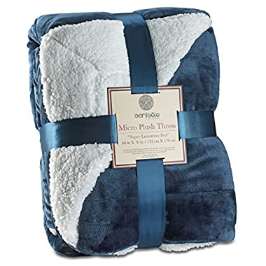 Genteele Sherpa Throw Blanket Super Soft Reversible Ultra Luxurious Plush Blanket (50  X 60 , Navy)