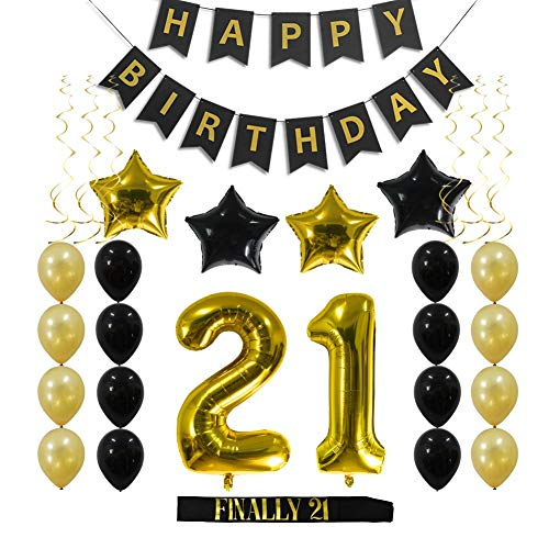 21st Birthday Decorations Party Supplies Gift for Her/Him - 21 Birthday Sash, Happy Birthday Banner, 21 Gold Number Balloons, Sparkling Hanging Swirls, Black and Gold Balloons