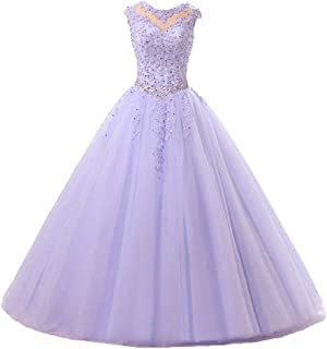 Tulle Ball Gown Party Dresses Cap Sleeve Lace Applique Quinceanera Dress