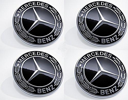 Für Mercedes-Benz 75mm Radnabenabdeckung Stern mit Lorbeerkranz im neuen Design schwarz AMG Nabendeckel 75 mm Nabenkappen Radkappen A2224002200 9040 Felgen Legierung – Klasse A B C CLA CLS CLK G GL GL