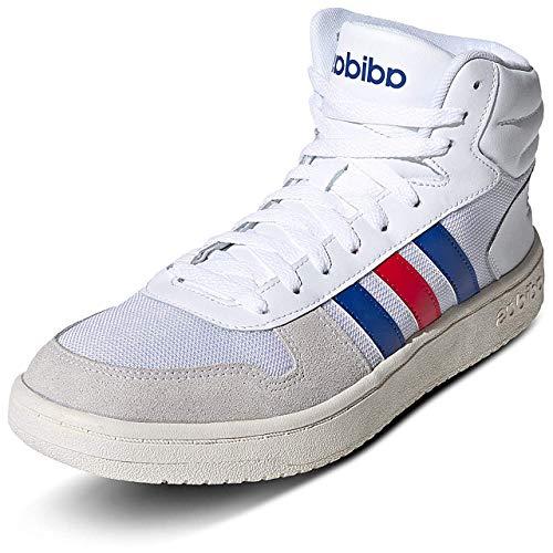 adidas Herren Hoops 2.0 MID Sneaker, Ftwbla/Reauni/Escarl, 44 EU