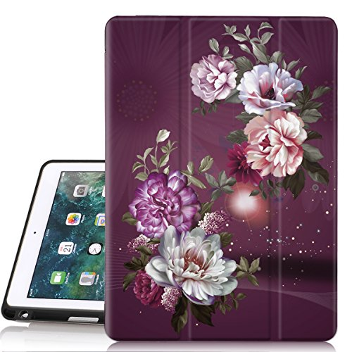 Hocase iPad 6th/5th Generation Case, Trifold Folio Smart Case with Apple Pencil Holder, Auto Sleep/Wake Feature, Soft TPU Back Cover for iPad A1893/A1954/A1822/A1823 - Royal Purple/White Flowers