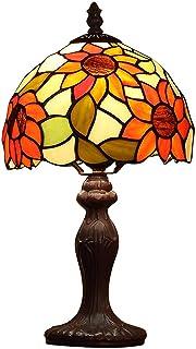 XU FENG Lámpara de sobremesa de Estilo Europeo Tiffany con Flor de Sol y vitrales, Uso de Base de Resina, lámpara de Mesa Retro, Dormitorio de la Sala de Estar de la Novia Junto a la Cama