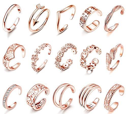 LOLIAS 15 Stück Verstellbare Offenen Zehenringe für Frauen Mädchen Mode Finger Midi Ring Knuckle Ring Set Knöchel Ring Böhmischen Vintage Stapelbar Ringe Geschenke Strandsandalen Fußschmuck