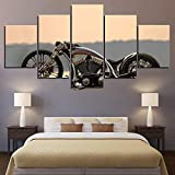 45Tdfc 5 Piezas Impresiones sobre Lienzo Modular DecoracióN PóSter Cuadro Bicicleta Custom Irrompible Motocicleta,Talla:150 * 80Cm HabitacióN Sala HogareñA