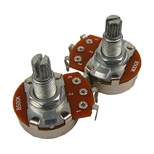 Musiclily Métricas 18mm Tamaño Pequeño Split Shaft Linear Taper Poti B500 kOhm Potenciómetro de Guitarra Eléctrica(2 piezas)