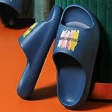 XZDNYDHGX Sandalias De Piscina para Mujeres Hombres Zapatilla de baño Suave Azul Marino, toboganes de Grafiti para Mujer, Zapatos de Piso Dibujos Hombres y Mujeres para el apartamento EU 43-44