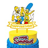 Acrylic The Simpsons Happy Birthday Cake Topper Cartoon Figures Theme Cake Topper Birthday Party The Simpsons Family Decoration Suppliers